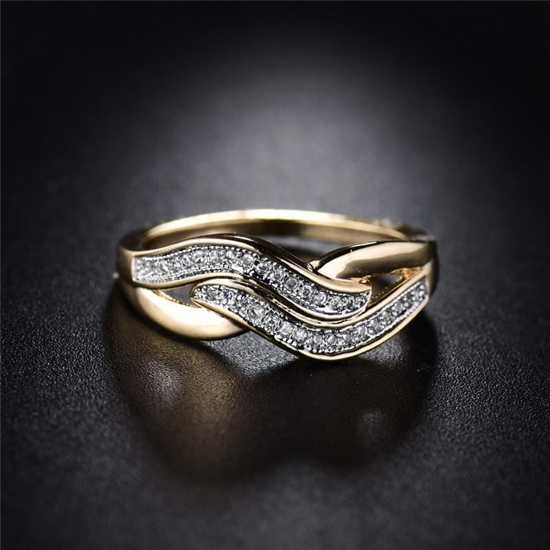 Gold Color Cubic Zirconia Ring Gold & silver