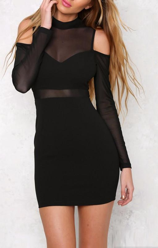 Elegant See-through Mini Dress Black