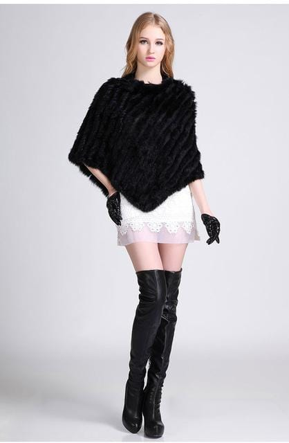 Knitted Natural Fur Poncho