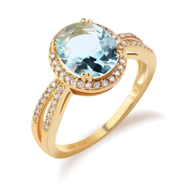 Light Blue Oval Crystal Chic Ring