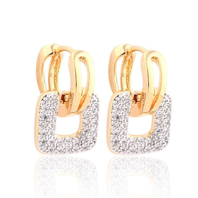 Unique Square Crystal Earrings Gold