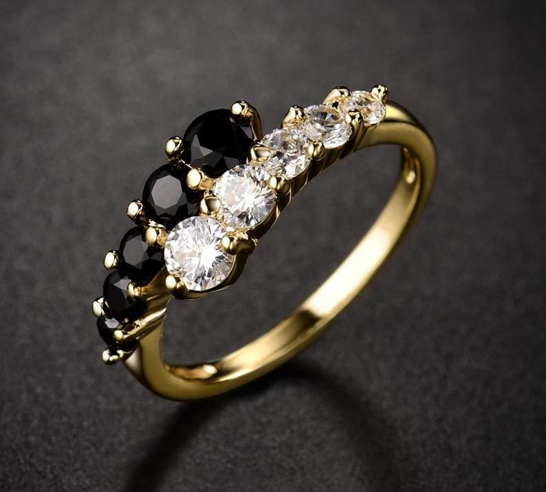 Black And White Crystal Ring