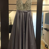 Long Elegant Sequin Work V-Neck Party Dress