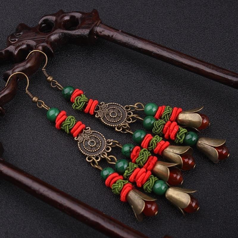 New Ethnic HanBig Star Stone Vintage Earrings
