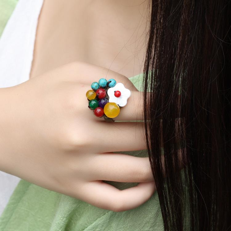 New Crystal Colorful Stones Vintage Ring