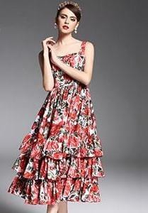 Spaghetti Strap Sexy Red Rose Floral Print Dress