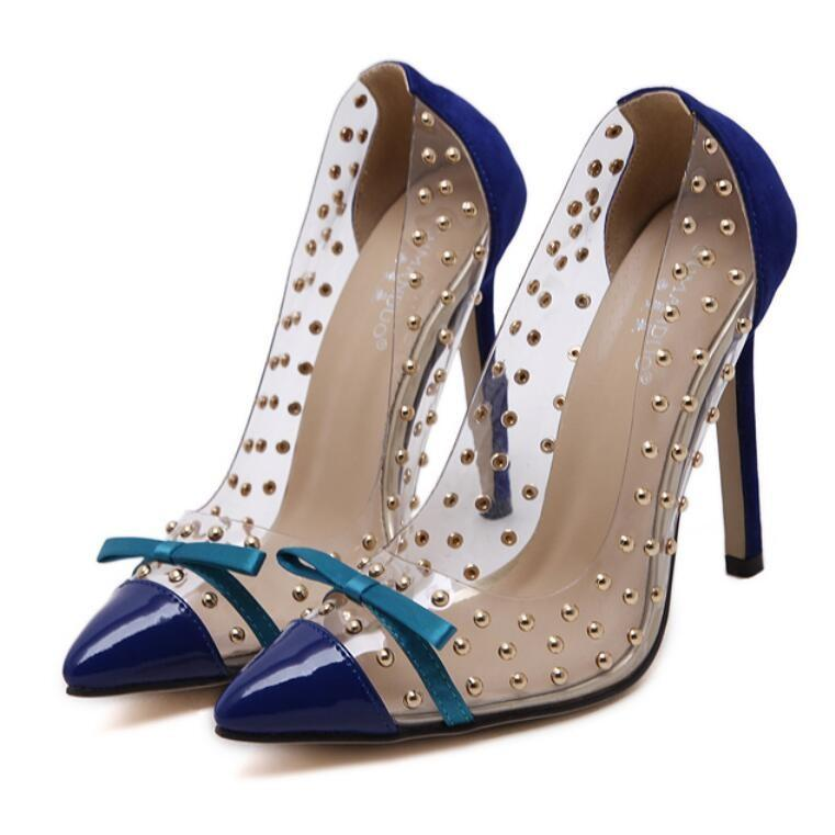 Rivets Work High Heels Blue