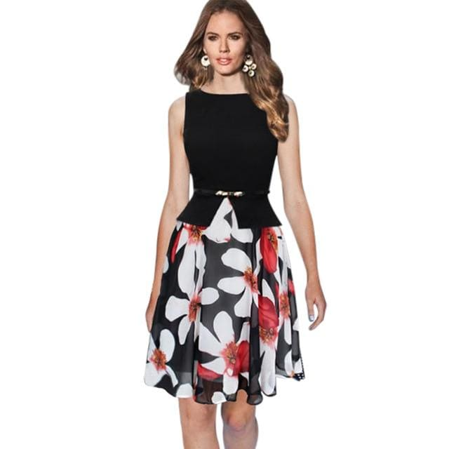Elegant Floral Print Work Office Party Dress