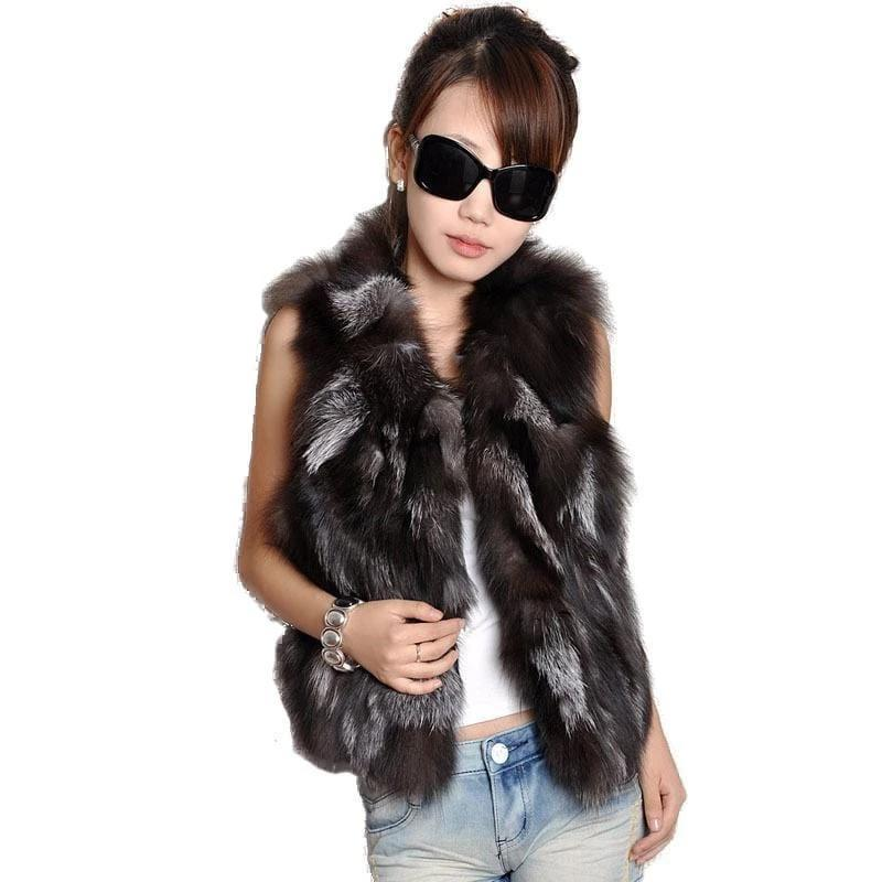 Genuine Stylish Fur Coat Black