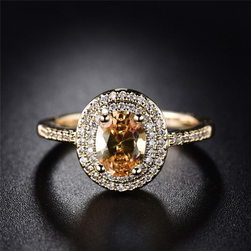 Orange Oval Crystal Stone Ring
