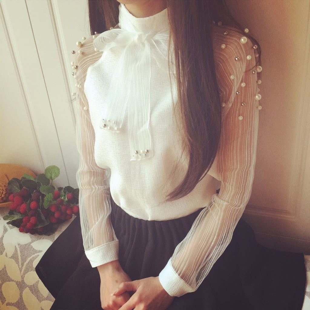 Long Sleeve Chiffon Top White