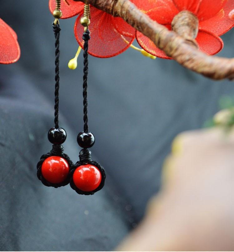 Ethnic Red Coral Dangle Long Earrings