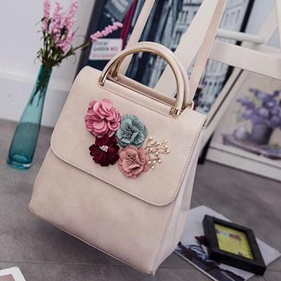 Korean Style Three-Dimensional Flowers Embellished Bag Beige