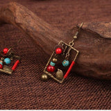 Handmade Birdcage Square Ethnic Earrings
