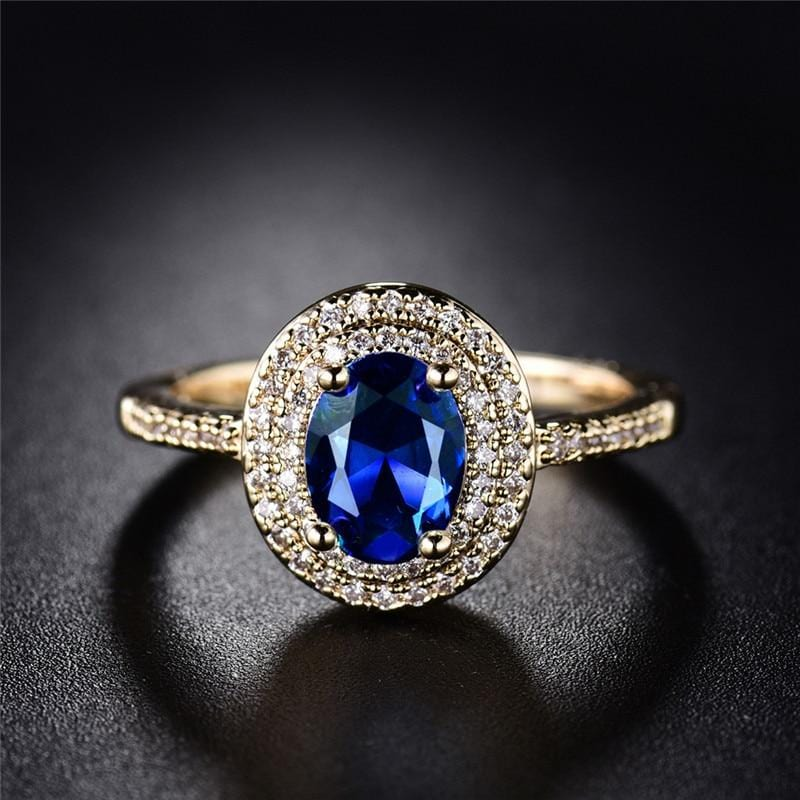 Big Shiny Oval Blue Crystal Ring