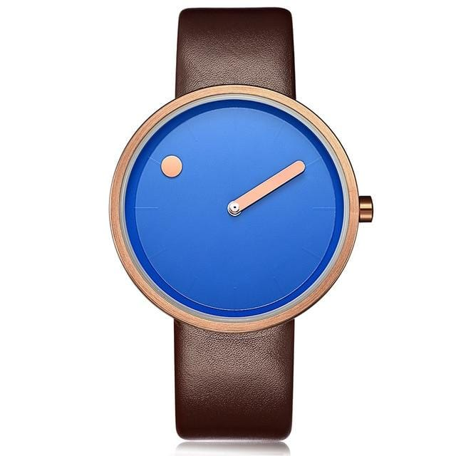 Luxury Simple Designer Creative Casual Women Watch Brown Blue