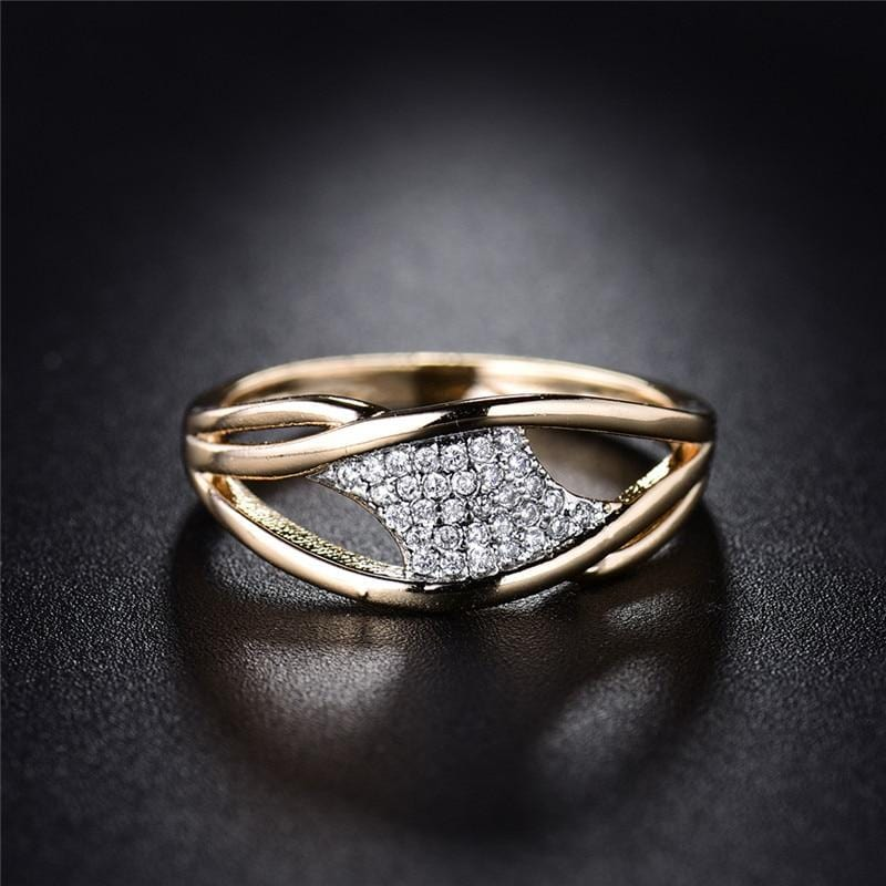 Fashion Crystal Unique Shape Ring Gold