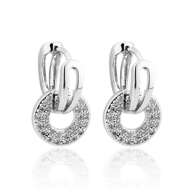 Round Dangle Drop Hoop Earrings Silver