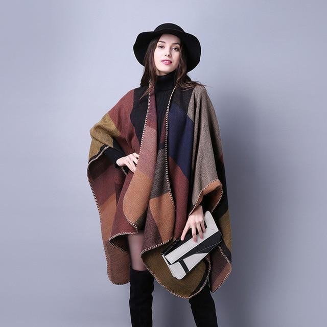 New Cashmere Classic Plaid Poncho Scarf