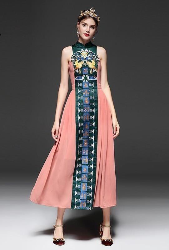Vintage Style Chinese Style Long Dress Multi