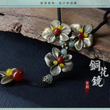 Ethnic Bronze Flowers Vintage Pendants Necklace