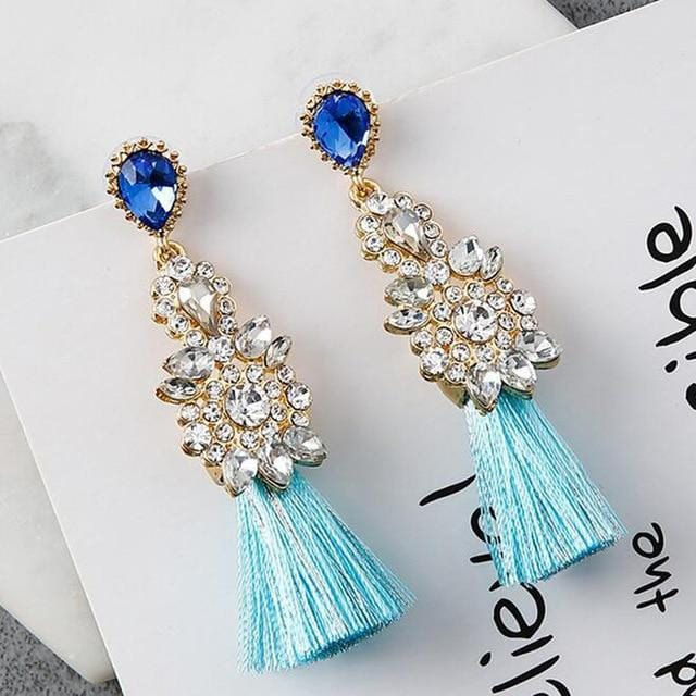 Rhinestone Tassel Thread Statement Earring