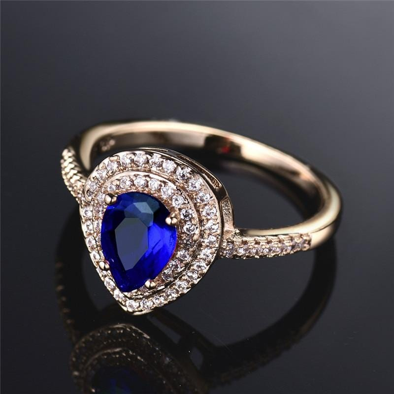 Blue Oval Crystal Ring