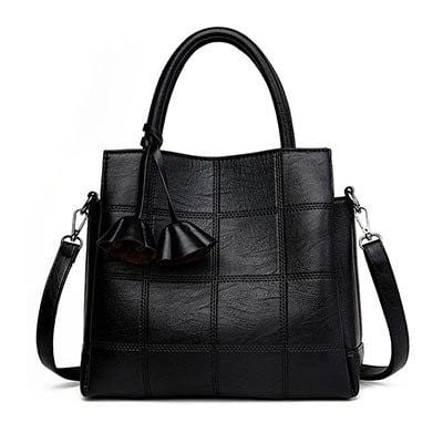 Unique Stylish Plaid Leather Handbag Black