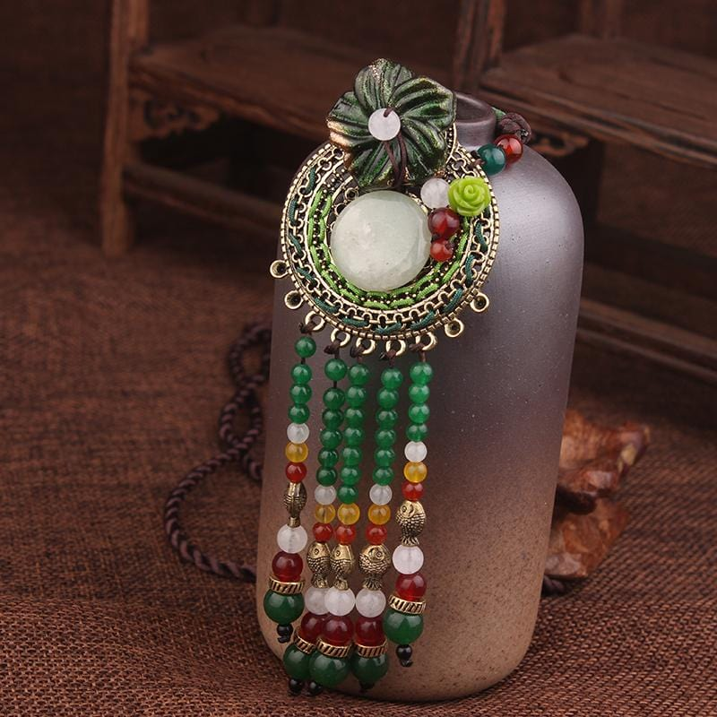 Handmade Bohemia Green Tassel Vintage Flowers Necklace