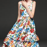 Spaghetti Strap Ruffle Floral Printed Dress Multi
