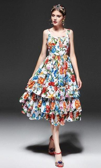 Spaghetti Strap Ruffle Floral Printed Dress