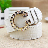 Luxury Colorful G Buckle Brand Women Belts White