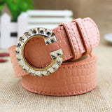 Luxury Colorful G Buckle Brand Women Belts Pink