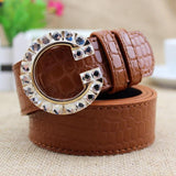 Luxury Colorful G Buckle Brand Women Belts Brown