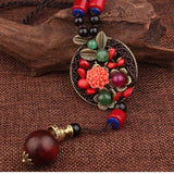 Handmade Flowers Coper Leaf Ethnic Stones Necklace