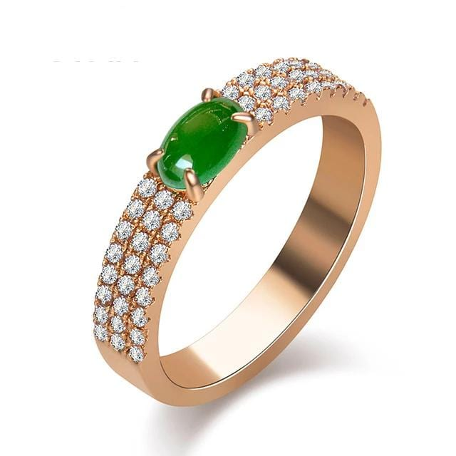 Green Stone Cubic Zirconia Ring