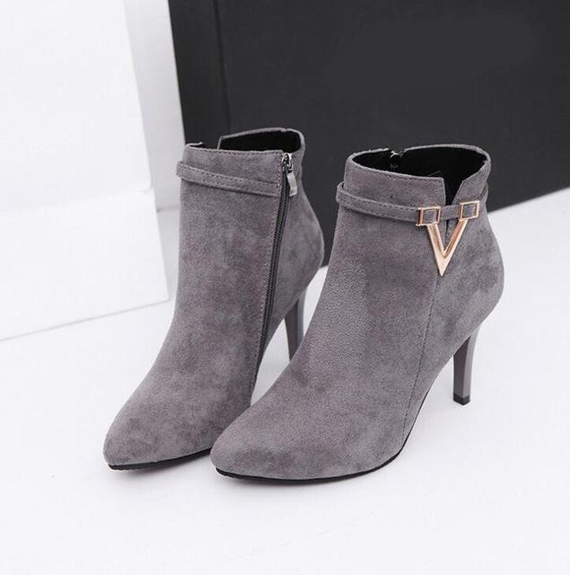 Autumn Stiletto Thin Heels Zipper Style Women Boots