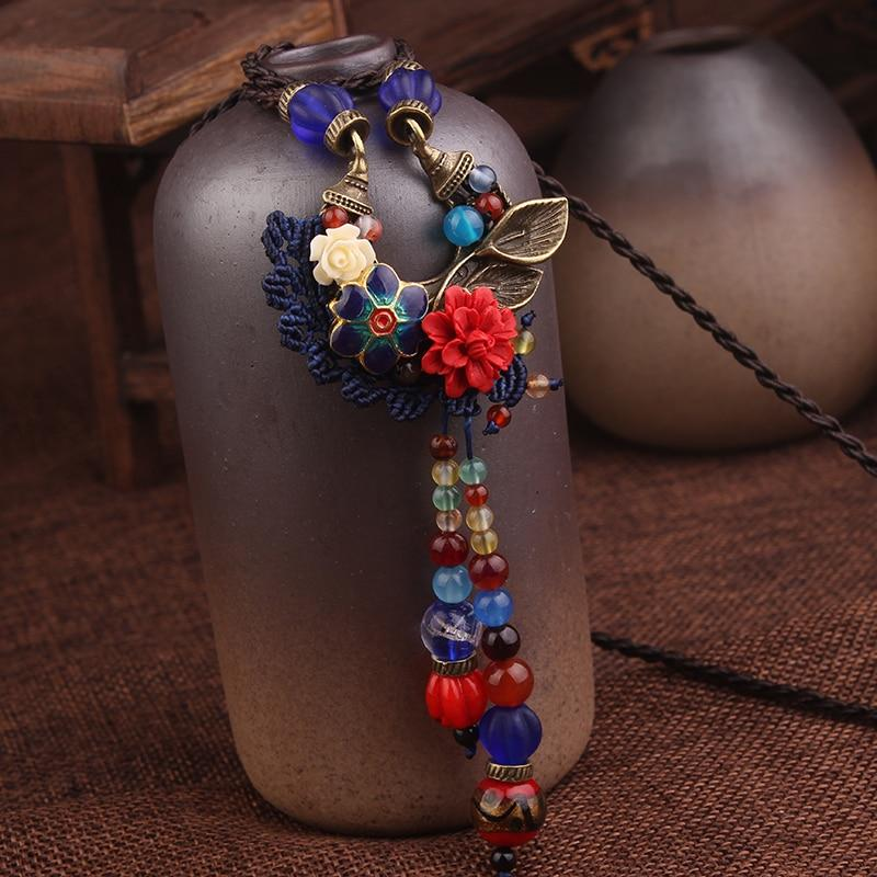 Handmade Copper Leaf Flower Braided Vintage Tassel Necklace