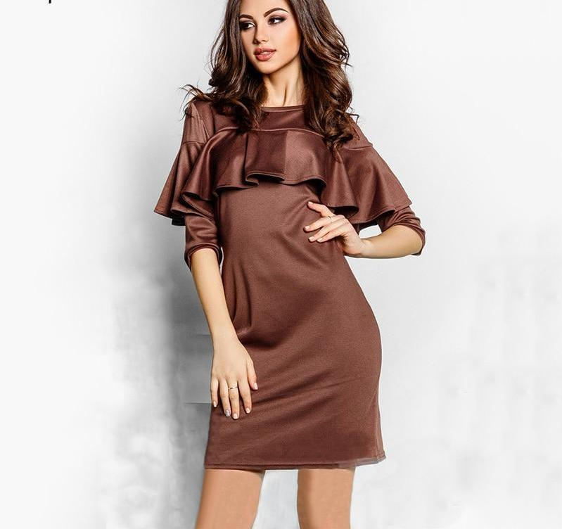 Elegant Ruffles Quarter Sleeve Dress Brown