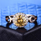 Gorgeous Yellow Crystal Finger Ring