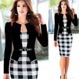 Two Piece Long Sleeve Office Wear Pencil Dress Black