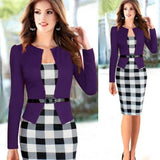 Two Piece Long Sleeve Office Wear Pencil Dress Purple