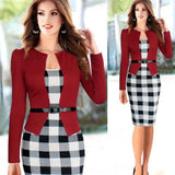Two Piece Long Sleeve Office Wear Pencil Dress Red