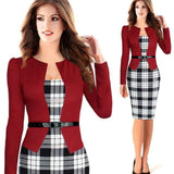 Two Piece Long Sleeve Office Wear Pencil Dress