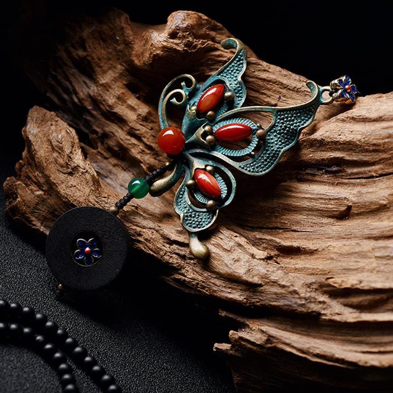 Vintage Cloisonne Ethnic Nature Wood Necklace