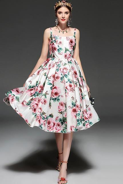 Runway Style Designer Elegant Rose Print Dress