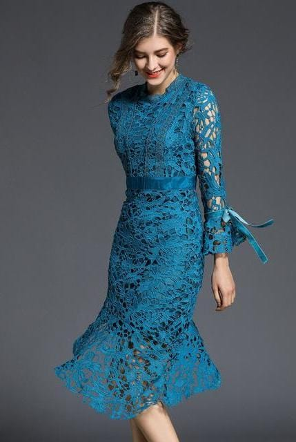 Mermaid Style Asymmetrical Vintage Lace Dress
