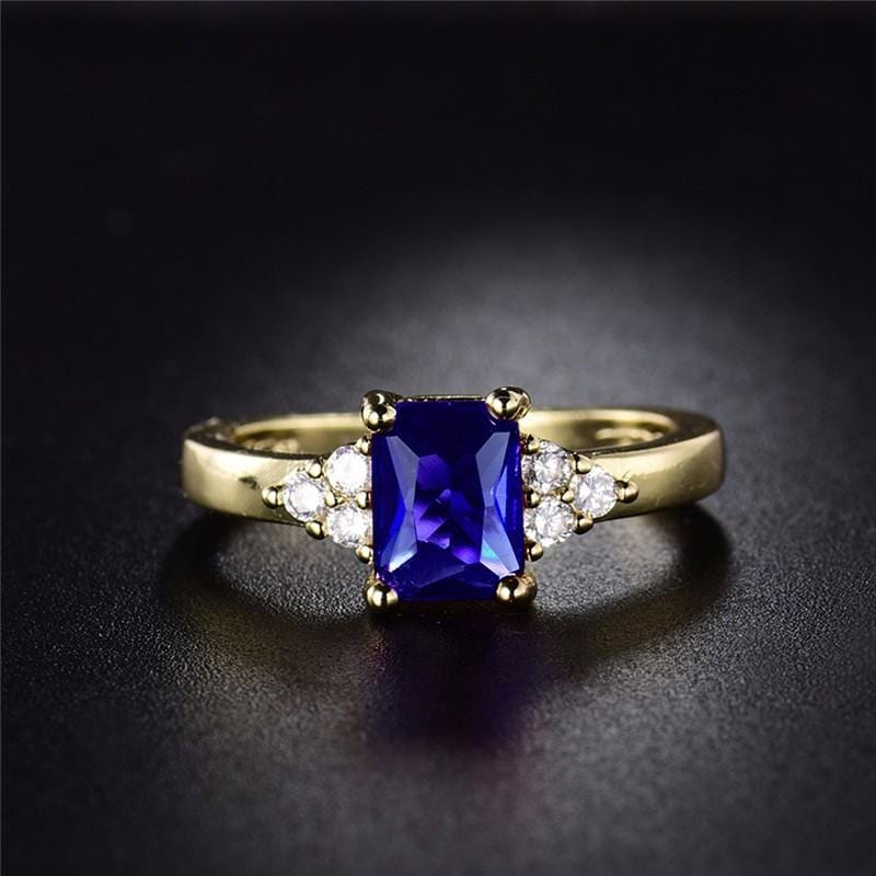 Blue Cubic Zirconia Gold-Color Crystal Ring