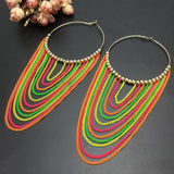 Metal Long Circular Tassel Earrings