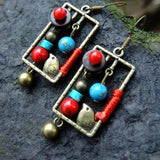 New Handmade Birdcage Square Ethnic Earrings